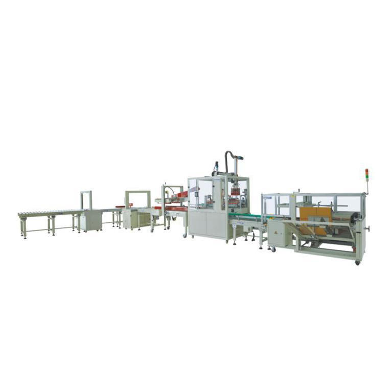 Automatic box opening, packing and sealing trapping production line